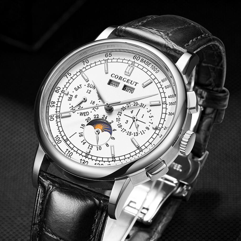 CORGEUT 42 مللي متر موضة رجالي ساعات العلامة التجارية الفاخرة الميكانيكية ساعة ستانلس ستيل قسط جلدية الرياضة ساعة متعددة الوظائف