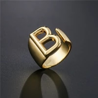 hollow a z letter gold color metal adjustable opening ring initials name alphabet female party chunky wide trendy jewelry