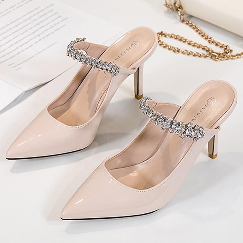 Rhinestones Band slingback patent leather pumps women slip on pointed toe footwear femm crystal stil