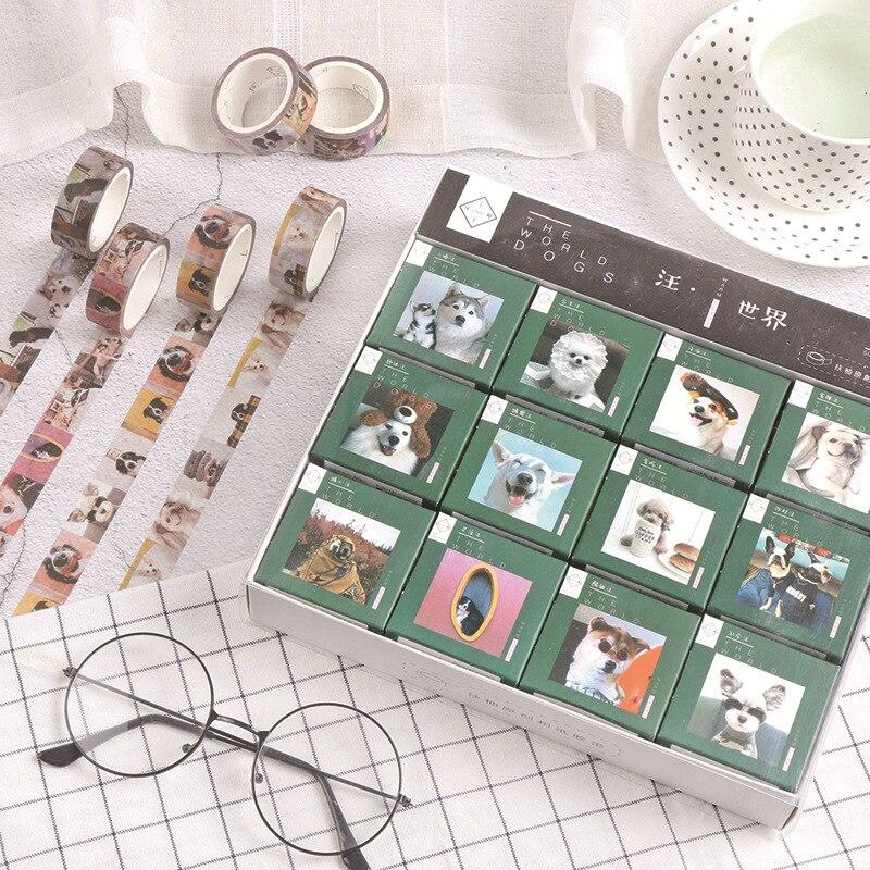1.5cm chien monde sibérien Husky décoratif Washi ruban bricolage Scrapbooking masquage artisanat ruban école fournitures de bureau