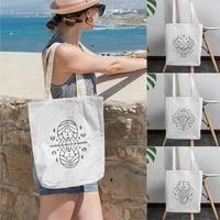 stick figure black white line pattern canvas storage bag simple fashion men women shopping groceries bags reusable capacity bag