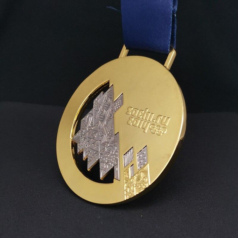 Коллекция 2014 года, российские спортивные сувениры в зимней воде Sochi, Реплика золотой медали, значок спортсмена, медали чемпиона, награда, под...