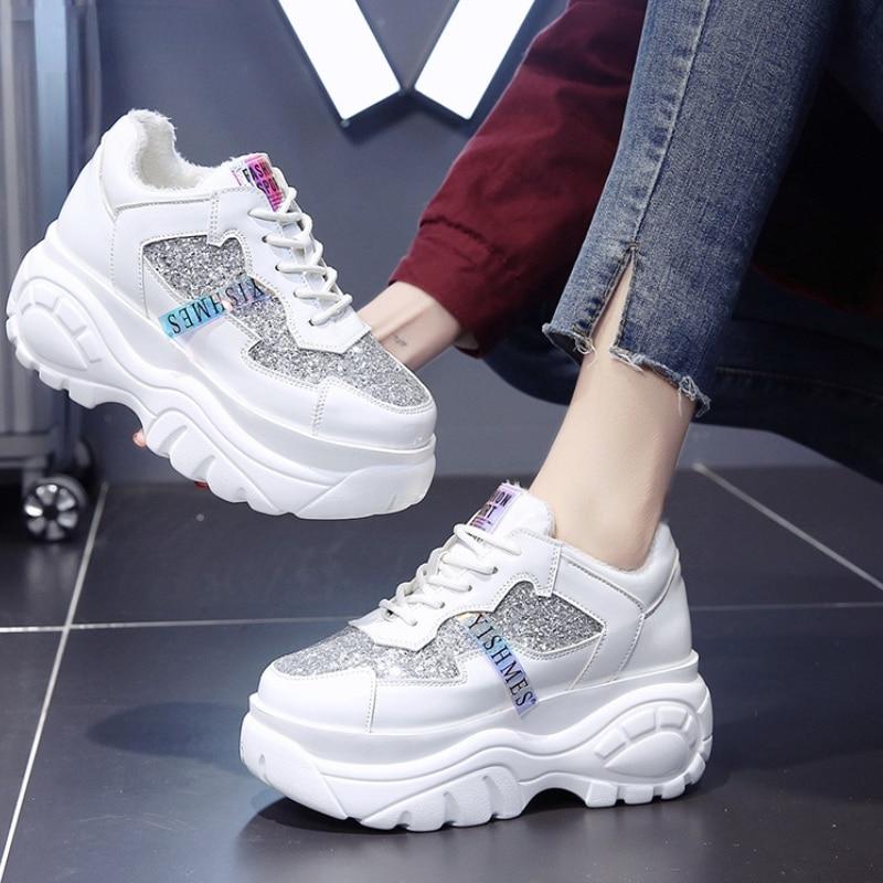 Women Chunky Sneakers Vulcanize Shoes Korean Fashion New Female Black White Platform Thick Sole Runn