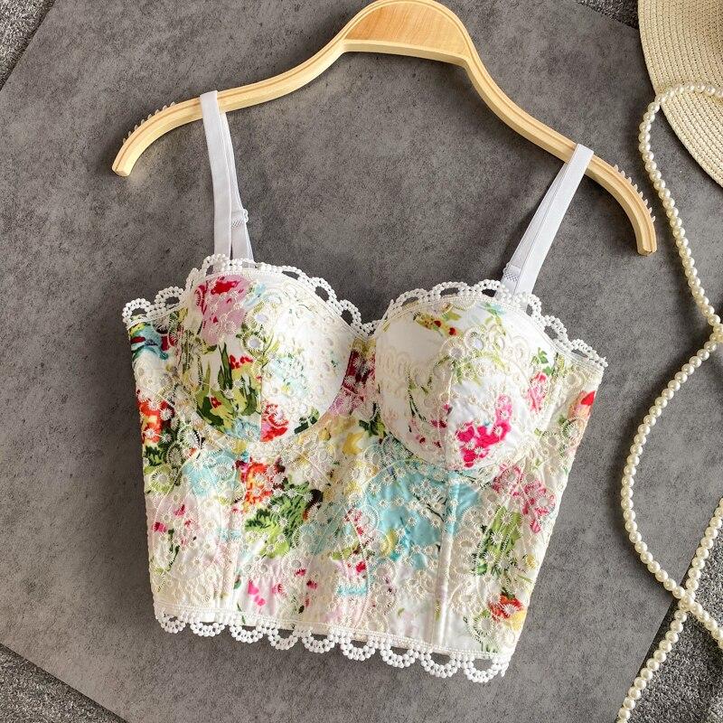 2021 Новое летнее платье с принтом и кружевом, застежкой-молнией на спине, бретели для женщин 3D чашки пляжная одежда сексуальный бюстгальтер лиф короткая вышитая подвеска жилет