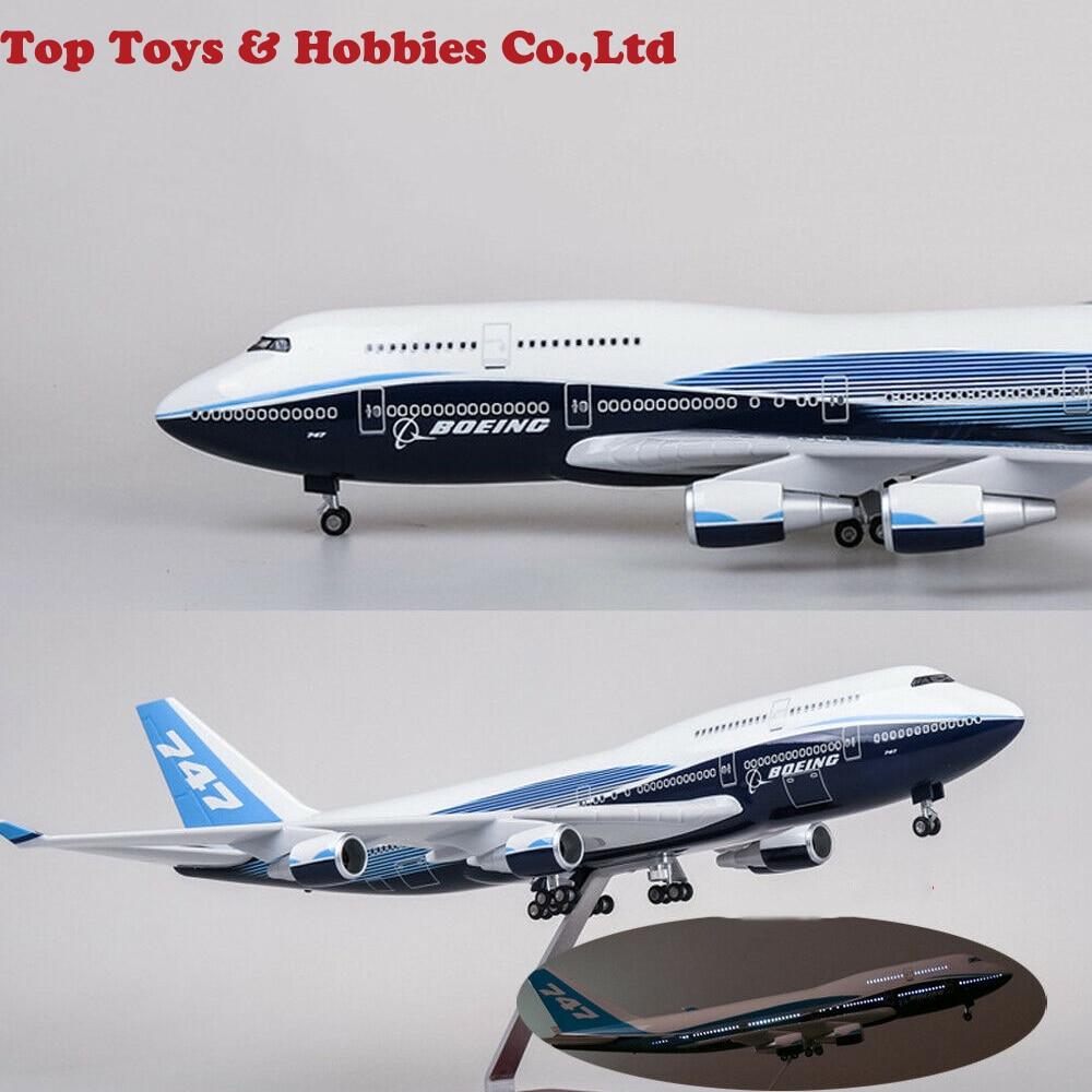 New stock 1/150 Scale Airplane1/150 B747 Boeing 747-400 Plane Model Replica Resin 47cm Long Diecast Aircraft Model With light enlarge