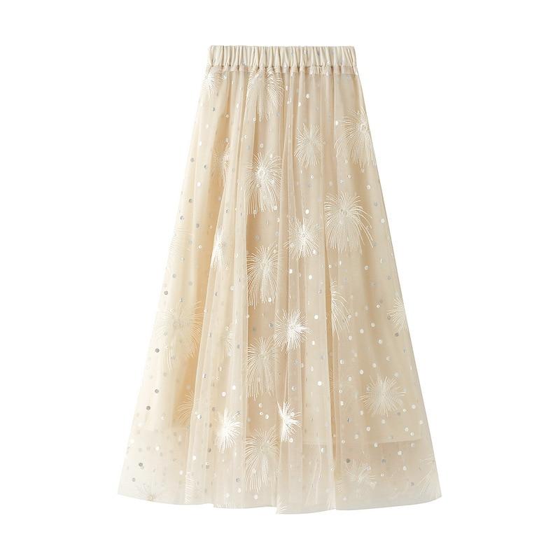 Falda Midi plisada de gasa urbana Outfitters, Falda bordada de malla, falda de tul de Hada de línea A de longitud media coreana para mujer