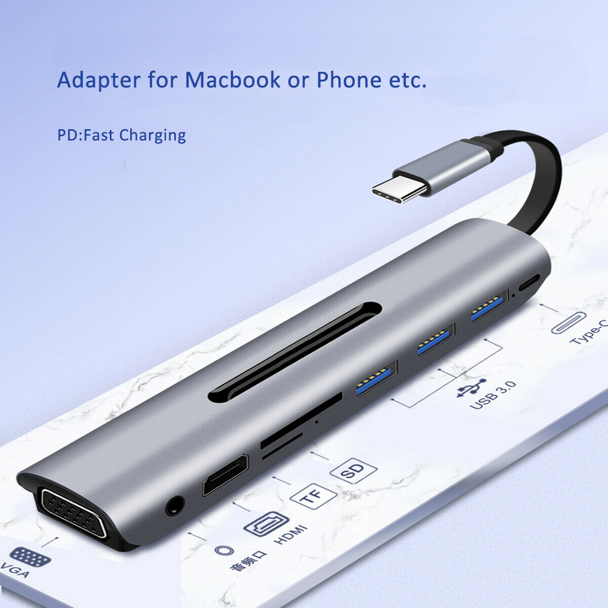 9 في 1 نوع C Hub إلى 4K HDMI VGA USB محطة الإرساء لماك بوك سامسونج S9 S10 +