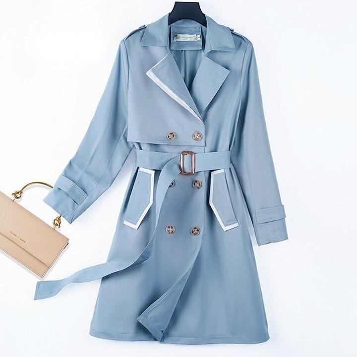 Ветровка женская средней длины, Новинка осени 2021, пальто в Корейском стиле, женское роскошное пальто, уличная одежда из сукна