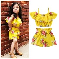aa children set 2pcs toddler baby girl clothes floral ruffled top vest shorts summer outfits set baby girl clothes fashion sets