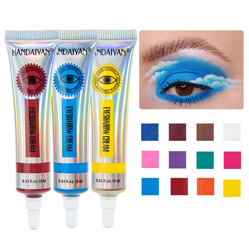 12-color Matte Liquid Eyeshadow Smokey Lasting Waterproof Blue Colorful Eye Shadow Cream Pigmented E