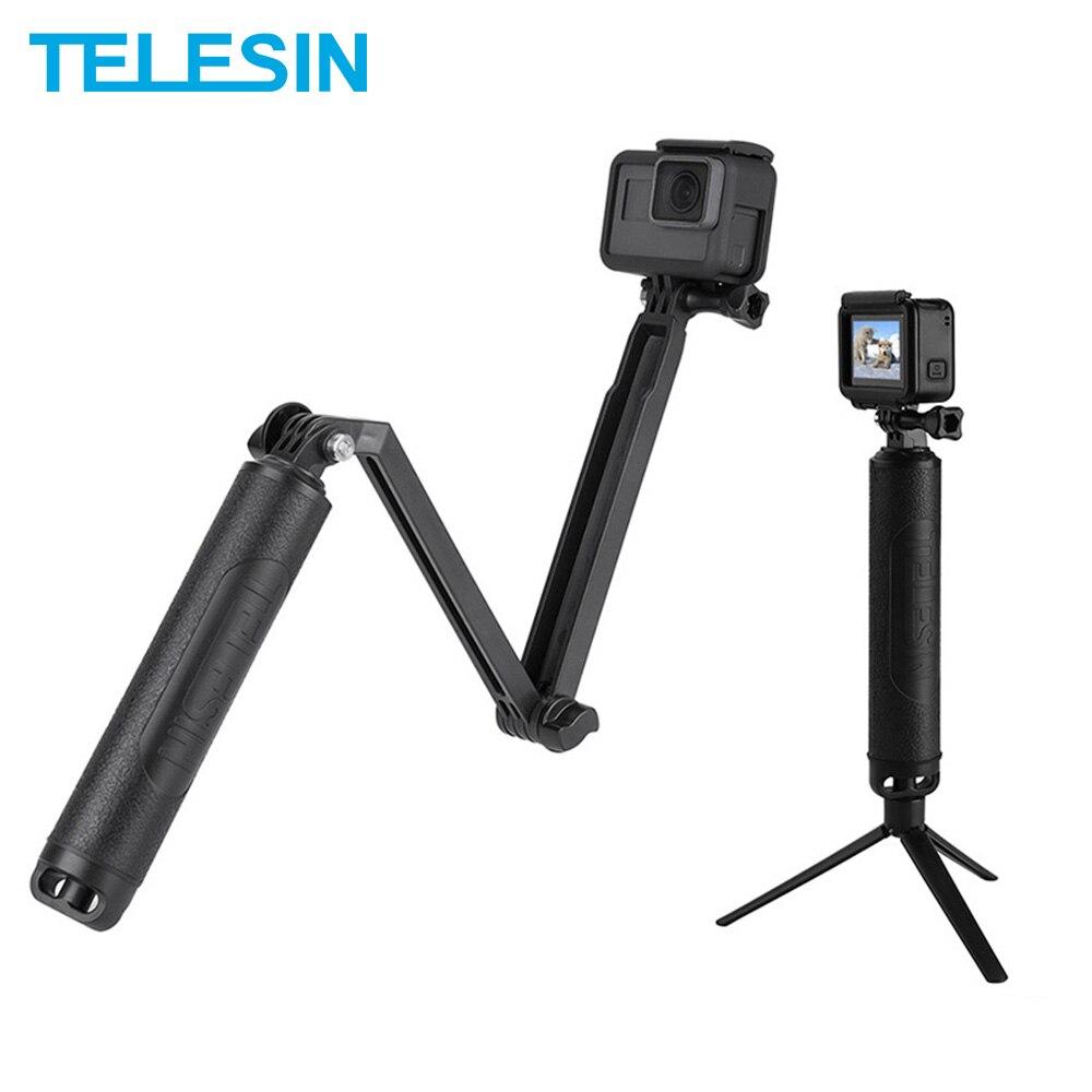 TELESIN مقاوم للماء 3-Way قبضة اليد Selfie عصا 2 في 1 العائمة قبضة Monopod + ترايبود ل GoPro شاومي يي SJCAM DJI Osmo العمل