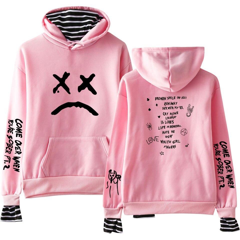 Sudaderas de diseñador de marca All-match Lil Peep Print Fake Two Pieces Hoodies otoño mujer sudaderas con capucha Harajuku para chica
