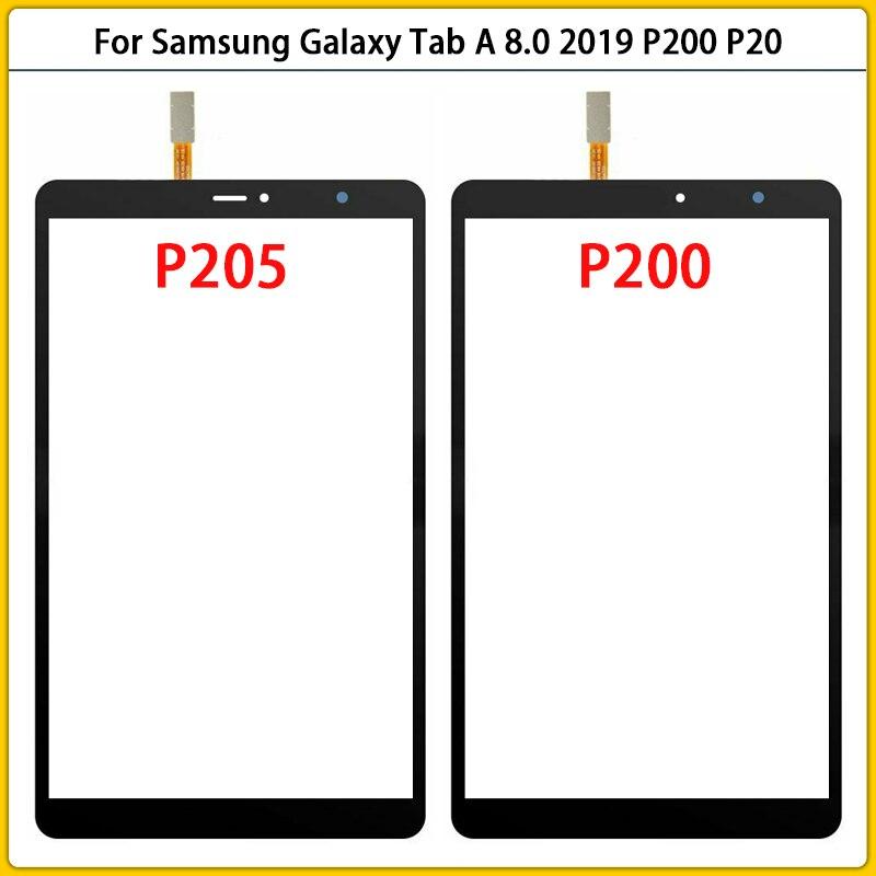 10 قطعة جديد P200 لمس لسامسونج غالاكسي تبويب A 8.0 2019 P200 P205 شاشة تعمل باللمس لوحة محول الأرقام الاستشعار LCD الزجاج الأمامي