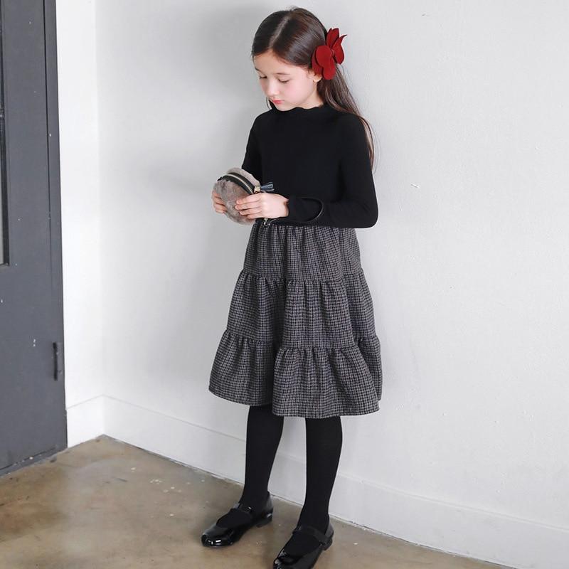 Girls Dress 2020 New Autumn & Winter Kids Plaid Dress Elastic Knit Top Patchwork Baby Princess Dress children Party Wool,#5405