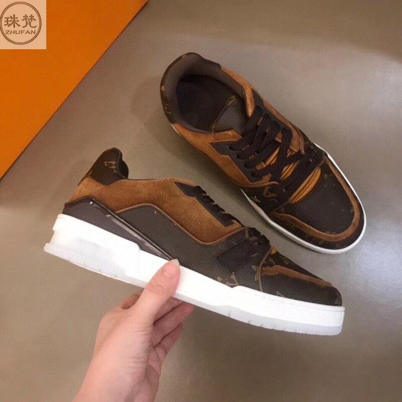 موضة جديدة حذاء رجالي كاجوال طباعة حقيقية أحذية من الجلد كل الصيف مريحة الترفيه أحذية رياضية تنفس العصرية