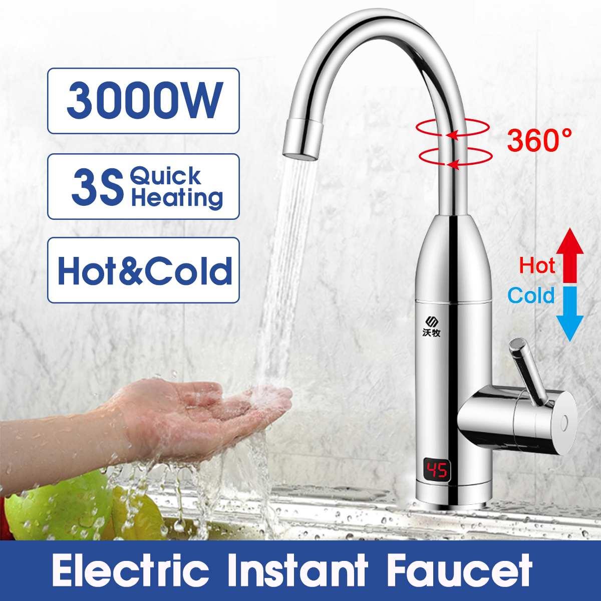 3000 Вт мгновенный Электрический водонагреватель, смеситель, быстрый нагрев, кухонный смеситель, Мгновенный водонагреватель для зимнего при...