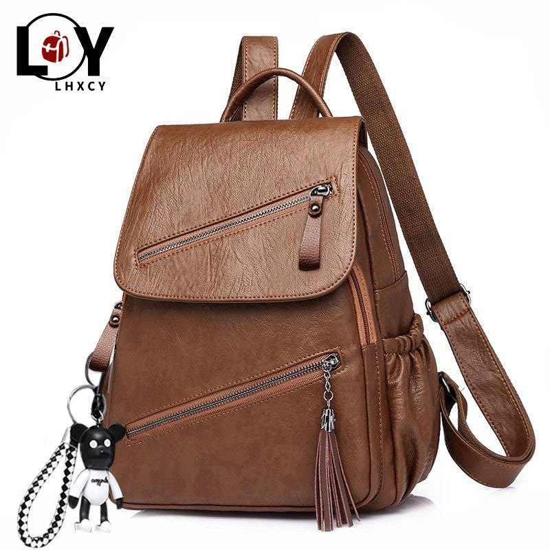 Vintage Tassel Pu Leather Multi-zip Clamshell Women Backpacks High Quality Soft School Bags High Capacity Designer Travel Bags