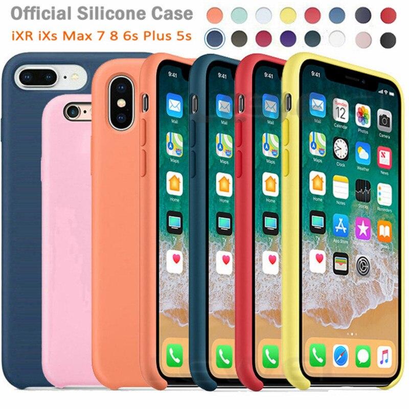 Luxury Original Official Silicone LOGO Case For iPhone 5SE 6s 7 8Plus Liquid Case For Apple iPhone 1
