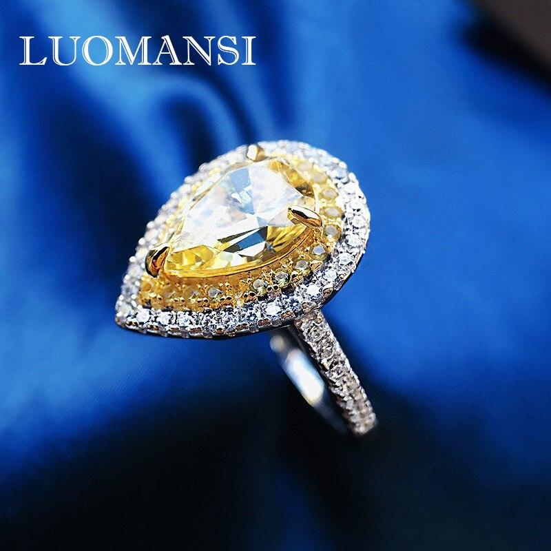 خاتم نسائي فاخر من Luomansi مكون من 10*7 مرصع بالماس الأصفر على شكل قطرة 100%-s925 مجوهرات فاخرة من الفضة الإسترليني لحفلات الزفاف