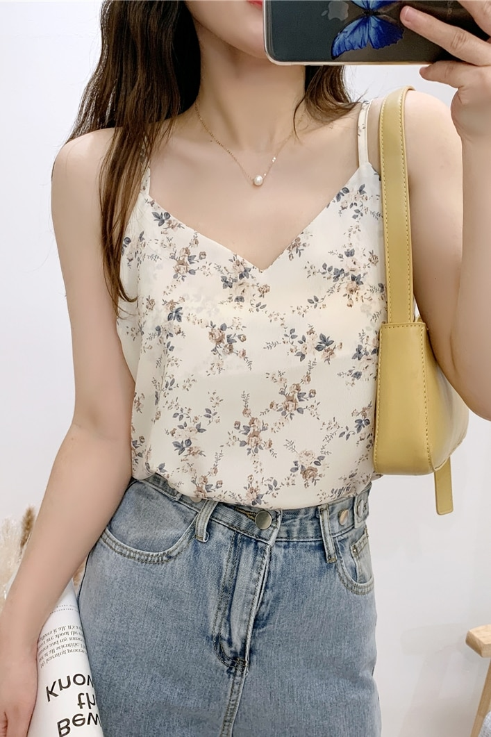 Spring Summer Sexy Small floral tank Sling top Solid color silk ladies sling female vest clothes