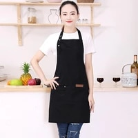 men and women pure color halter apron waterproof and apron home kitchen cooking shop apron coffee oil proof p2x4