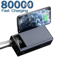 80000mah ultra large capacity power bank with dual usb 2led lights battery display power bank charger for iphone 12pro huawei