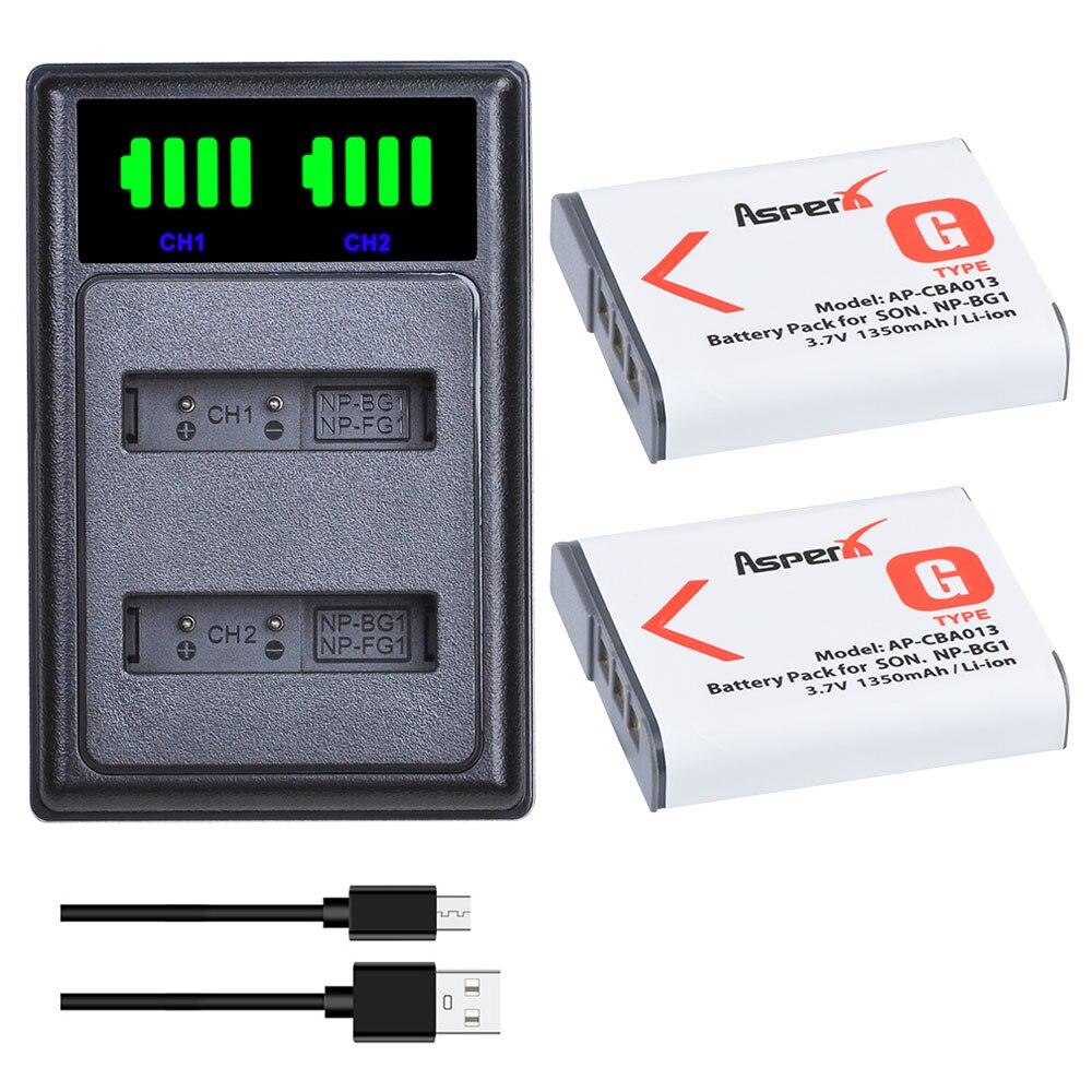 NP 2Pcs NP-BG1 BG1 NPBG1 Baterias + LED USB Carregador Duplo para Sony DSC-N1 DSC-T2 DSC-H9 DSC-H10 DSC-H20 DSC-H50 DSC-H55 DSC-H7