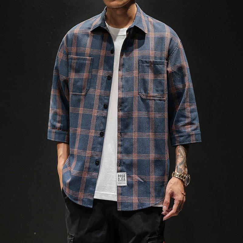 2020 Summer Style Men Three Quarter Sleeve Shirt Plaid Design Social Casual Men Dress Shirts ABZ402