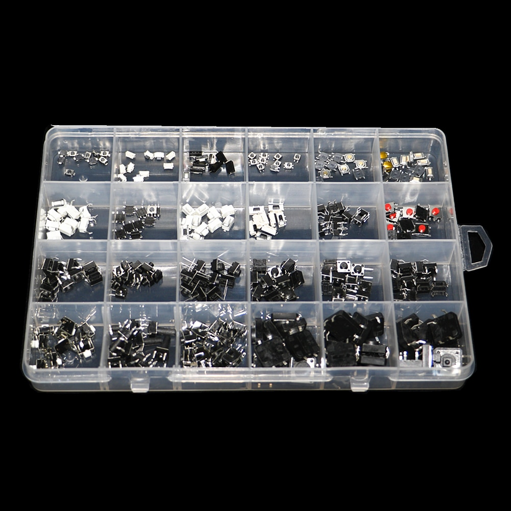 250pcs/box Micro Switch Assorted Push Button Tact Switches Reset 25Types Mini Leaf Switch SMD DIP 2*4 3*6 4*4 6*6 Diy Kit