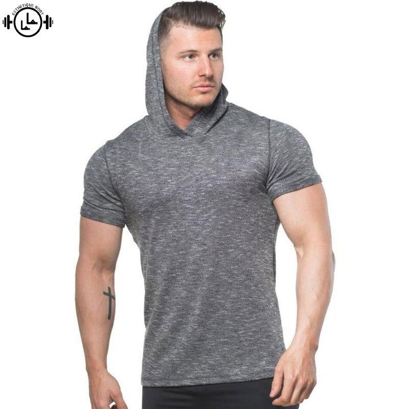 Camisetas de compresión de gimnasio para Hombre Camisetas ajustadas de secado rápido con capucha camisetas de correr de tela funcional 2019 camiseta de gimnasio para hombre Bodybuilding tops