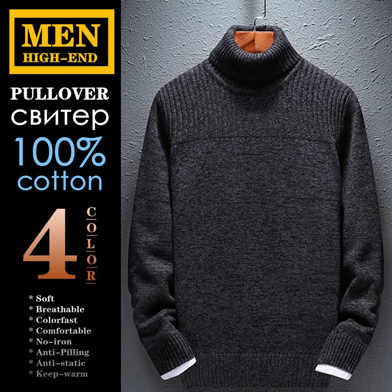 High-end Men's Pullover 100%cotton Autumn Winter Business Casual Fashion Soft Breathable Comfortable Keep-warm Anti-static