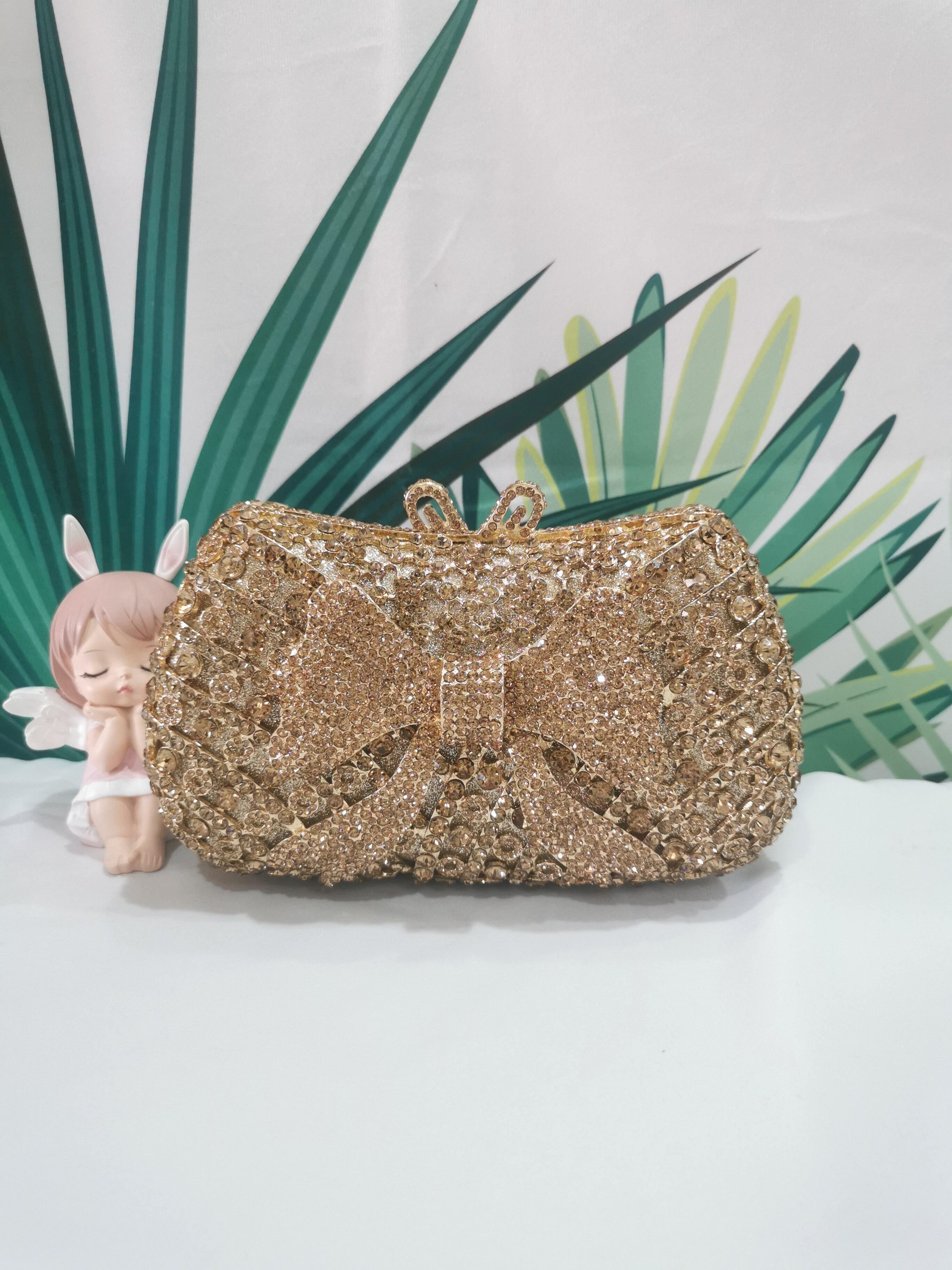 الذهب اللون القوس أنيقة الإناث ماسك من الكريستال أكياس الماس حفلة موسيقية كوكتيل حقيبة يد رسمية الزفاف الزفاف امرأة حقيبة مسائية