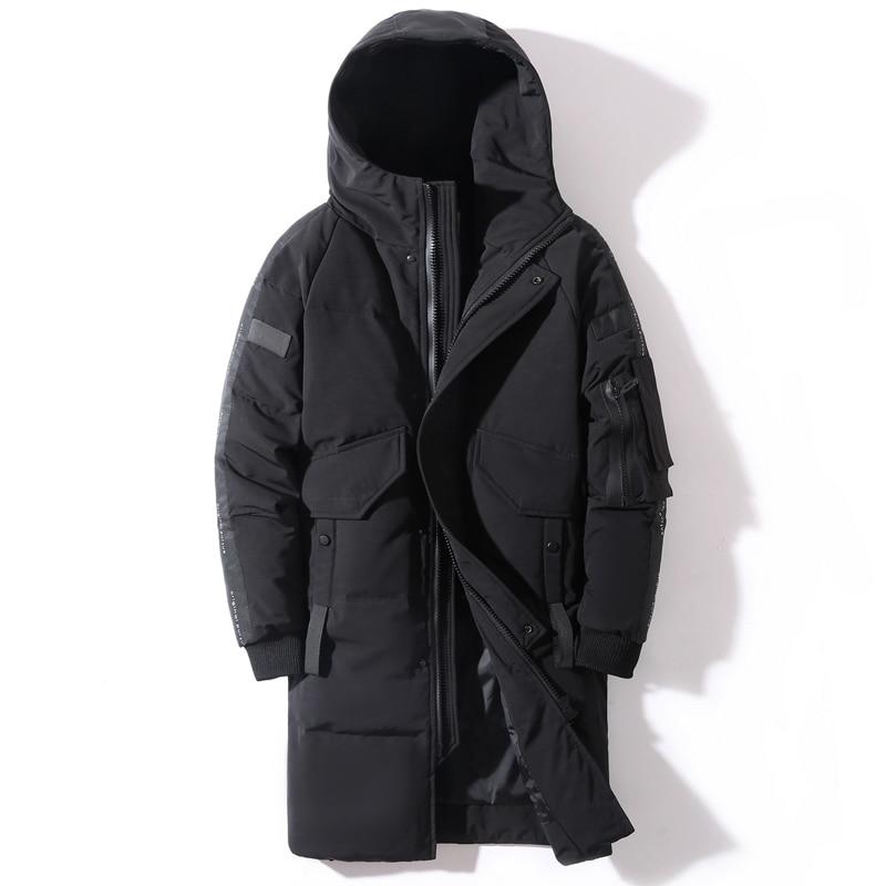 2020 Winter Men's Down Jacket Hooded Fashion Long Down Coat Men Windproof Waterproof Thick Warm Brand Mens Clothing Long Parka