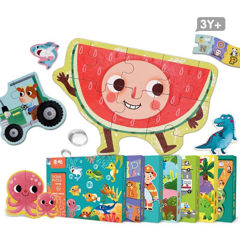 2020 New Large Kids Baby Wooden Animal digital vegetables Cognition Puzzle Fruit Learning Educational Toy Family Party Game