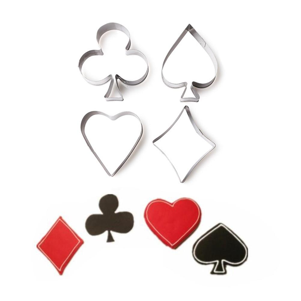 4 unids/set Poker molde de la galleta cortador de acero inoxidable tarjetas tarta Fondant nombre corazón molde