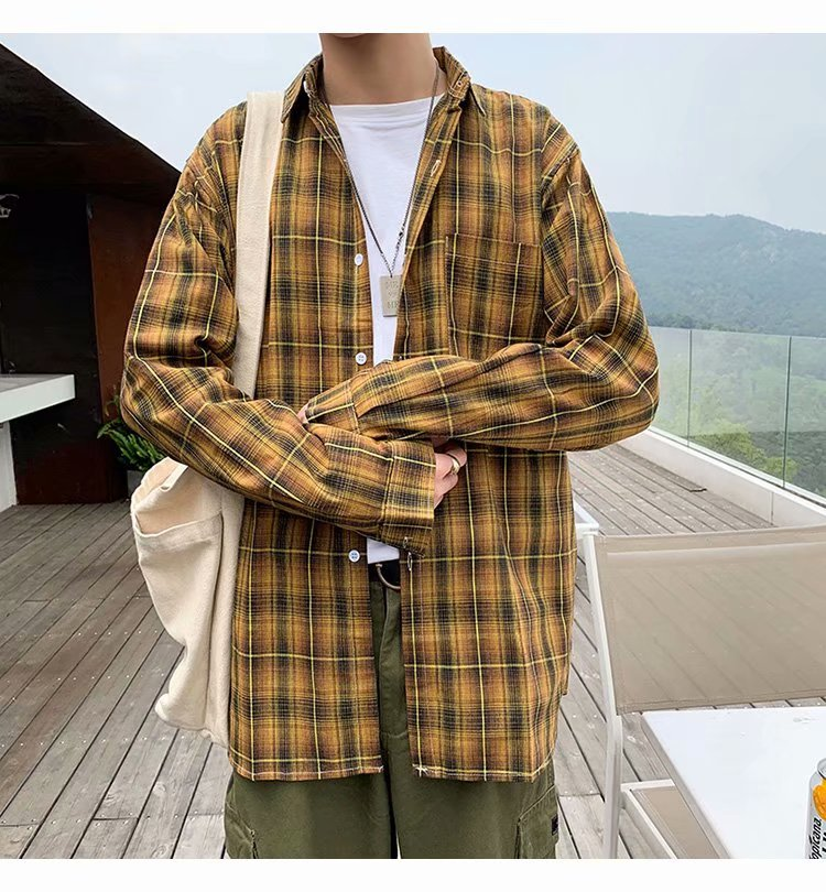 Mens Shirt Plaid Men Shirts for Clothing Checkered Blouse S-3XL 2021 New Arrival