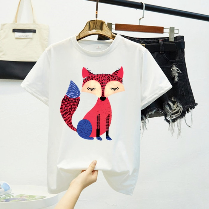 Harajuku 2020 Fox Print Graphic White T-Shirt Women Tops Camiseta Feminina Summer Shirt Femme T Shirt Slim Hip Hop Fashion Tees
