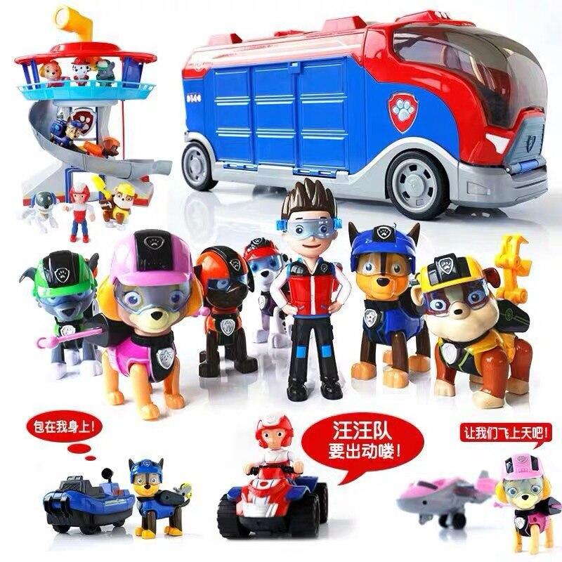 Pata patrulha ônibus torre de vigia com música patrulla canina psi patrulha carro figuras de ação brinquedos para crianças presentes natal