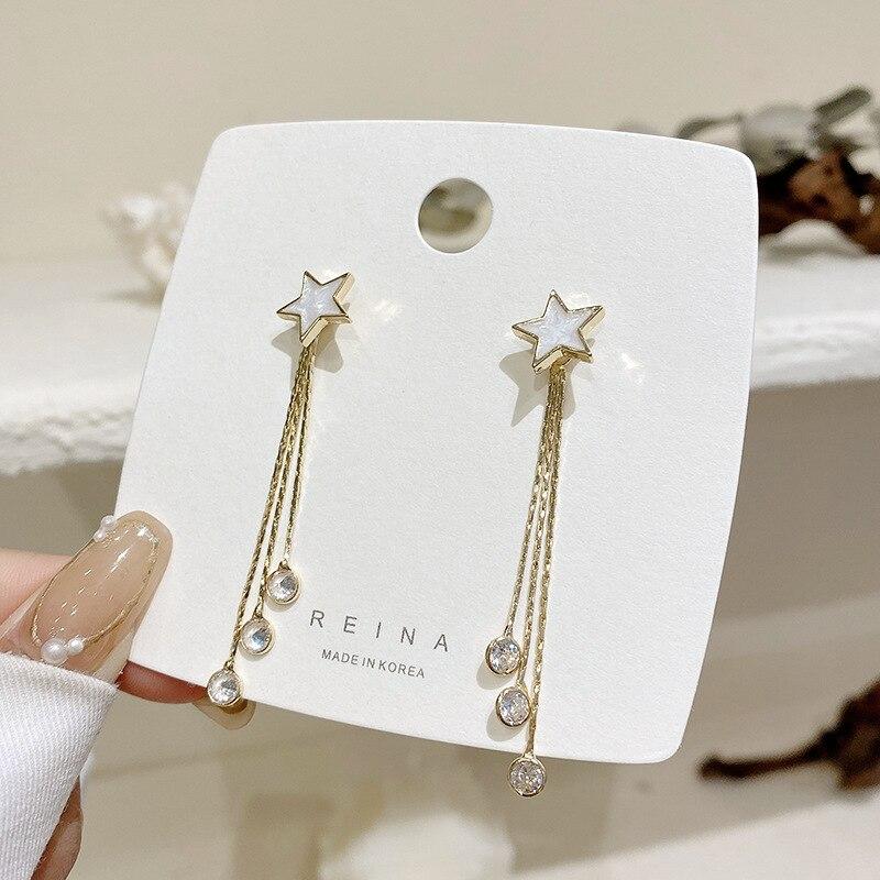 Korean fashion personality star tassel earrings female temperament long zircon star earrings