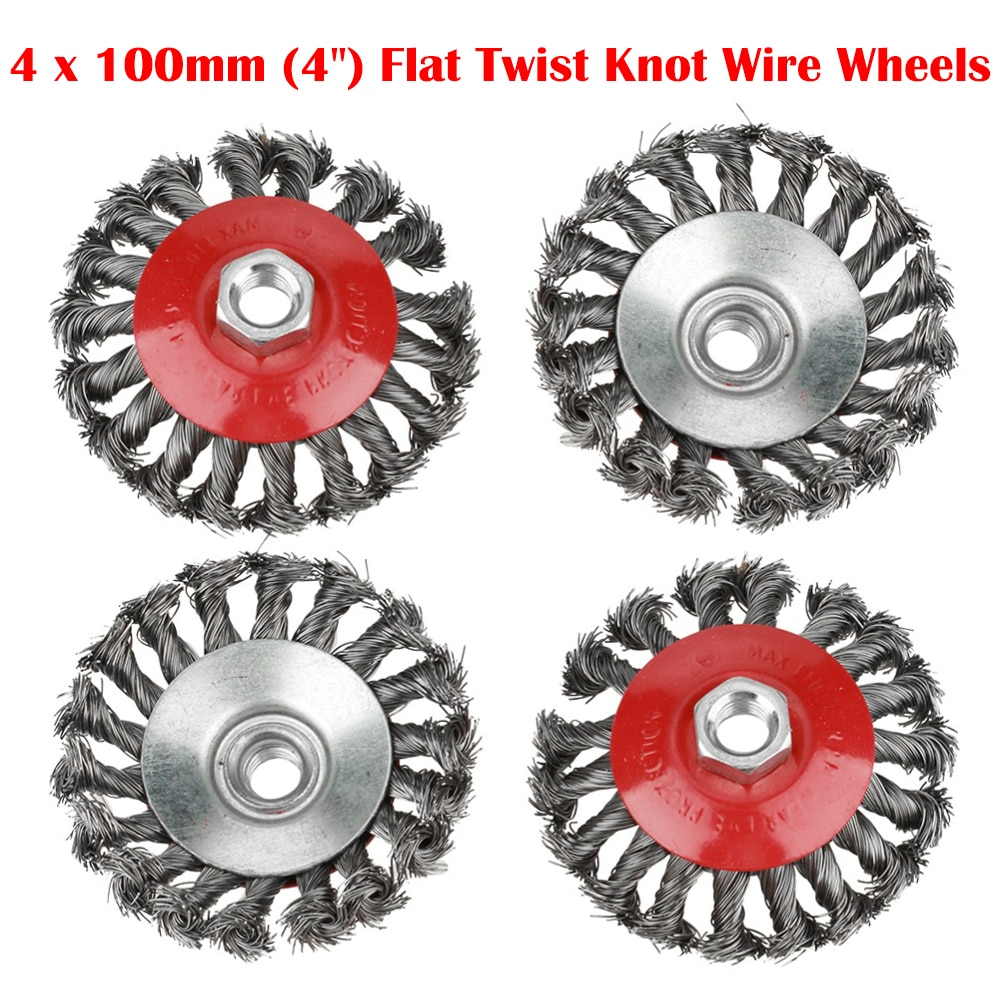4Pcs Crew Twist Knot Wire Wheel Cup Brush Set for Angle Grinder Alloy Metals 100mm Twisted Brushes Kit