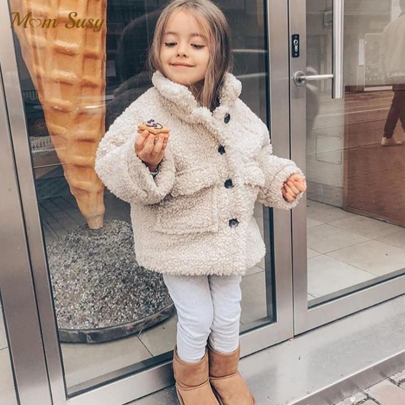 Модная зимняя куртка для маленьких девочек и мальчиков плотная овечья шерсть теплое пальто с овечкой для малышей Верхняя одежда для малыше...