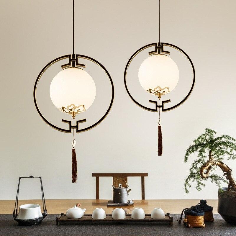 Lámparas colgantes clásicas de arte para dormitorio, luces colgantes de cristal chino...