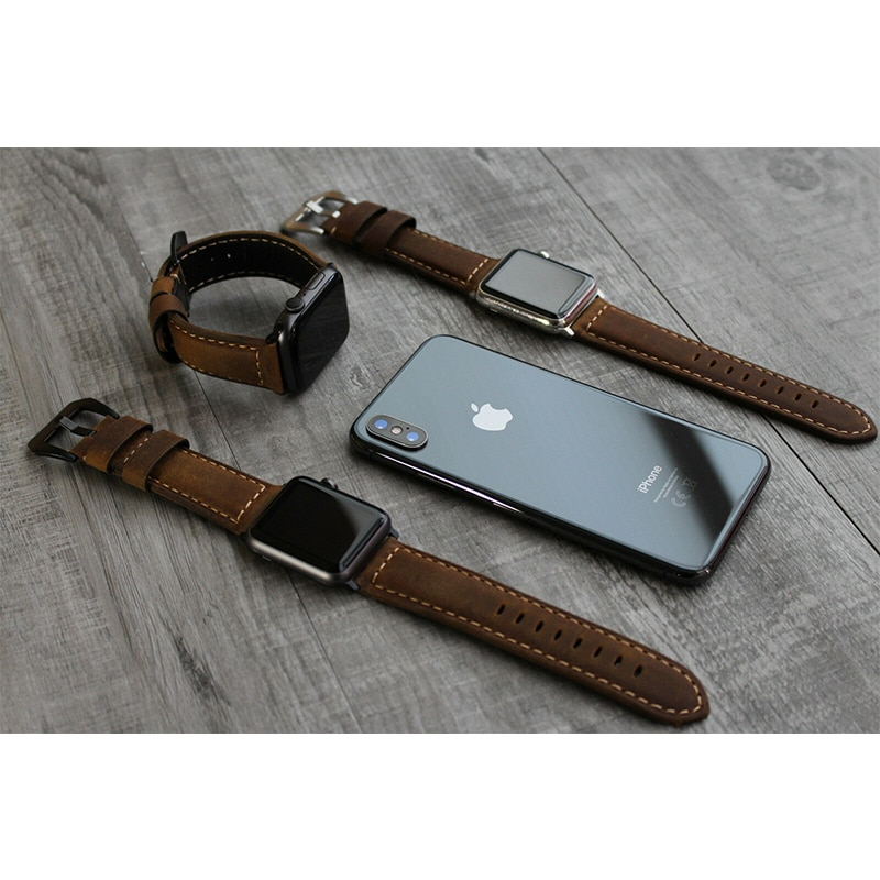 original black white lines leather strap for apple watch sport band 38mm 42mm for iwatch strap series 2 3 for iphone case set For Apple Watch Series  6 5 4 3 2 1 100% Brown Bull Leather Strap Band for iwatch band for apple watch band 42mm 44mm 38mm  40mm