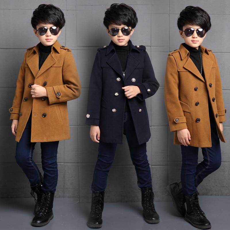Зимнее шерстяное пальто для мальчиков, новинка 2021, модная двухбортная однотонная теплая куртка с отложным воротником из хлопка, высокое качество-0