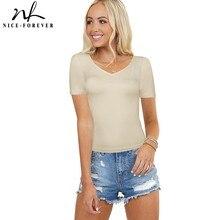 Nice-Forever été femmes Sexy T-shirts de pansement décontracté ajusté T-shirts minces hauts bty540