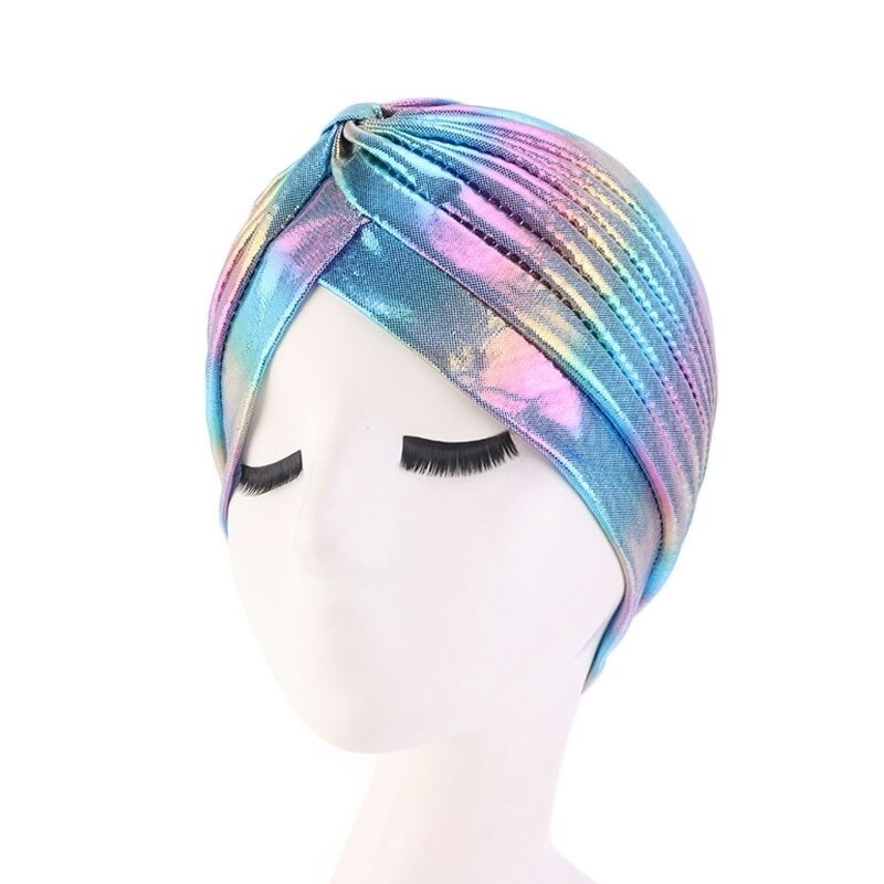 Women Colorful Laser Hair Caps Silky Ruffle Metallic Turban Hair Cover Accessories Wave Caps Bonnet Salon Hat Turban Jewelry