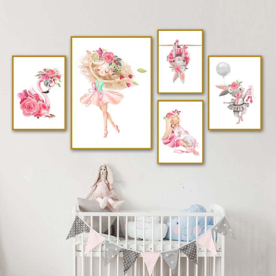 Póster e impresiones nórdicas con bonita flor rosa de conejo y Chica, mural de arte, pintura en lienzo, mural para decoración de habitación de niños