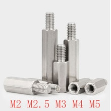 5-10 pièces M2 M2.5 M3 M4 M5 304 acier inoxydable Hex mâle à femelle entretoise pilier goujon ordinateur PCB carte mère entretoise