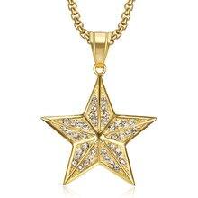 Hip hop iced para fora pentagrama estrela pingente colar masculino cor do ouro de aço inoxidável cz moda luxo hiphop jóias presente