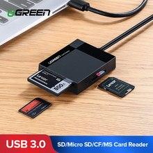 Ugreen USB 3.0 lecteur de carte SD Micro SD TF CF MS adaptateur de carte Flash compacte pour ordinateur portable lecteur de carte Multi lecteur de carte 4 en 1